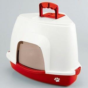 ファンタジーワールド猫用トイレクリーンハウスコーナートイレレッドCC-4R