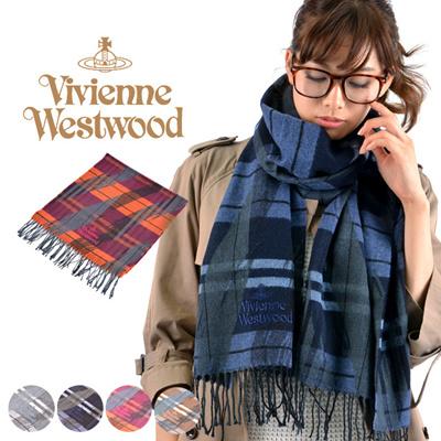 ヴィヴィアンウエストウッド Vivienne Westwood マフラー S11 FN82 チェック柄 ロゴ刺繍 取寄商品の画像