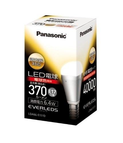 【クリックで詳細表示】Panasonic EVERLEDS LED電球(調光器対応・E17口金・小形電球形・電球25W相当・370ルーメン・電球色相当)LDA6LE17D 【RCP】【同梱・同時発送大歓迎!お買い上げ金額8