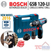 Bosch GSB 120-LI Cordless Impact driver drill 12V NEW MODEL 2016 that can drill into wood steel and masonry.Comes with LED lighting to illuminate dark work spaces.