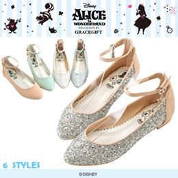 ♥New Arrival♥Gracegift-Disney Alice Ankle Strap Mixed Material Glitter Ballet Flats/Women Shoes