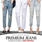 [grey u][FREE SHIPPING]Denim Long Pants♥Made in KOREA~!]★S/S 2015 Best Selling Premium Jeans in Korea♥free shipping/Skinny Pants/Washed Tight Denim Pants/Slim Pencil Pants/Various Size