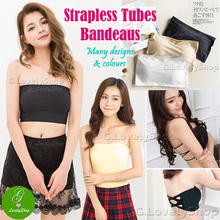 Stretchy Long/ Short Tube Bandeau Strapless Bra Lingerie Underwear (with/without padding)