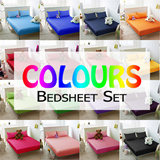 [Colours Bedsheet Set]100% Cotton/Fitted Bedsheet/23 Colours Available/Anti-pilling/Anti-balling/420 Thread Count/ extremely soft and breathable