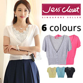 JESSCLOSET - Short Sleeve Mini Cardigan / Office Outer Wear #SSV