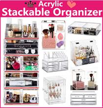 sales $2~ Acrylic Stackable cosmetics organizer jewelry Organizer Makeup box  Transparent Storage