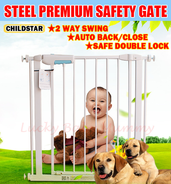 ?Authentic ChildStar 75/100cm Height?Fit 57-300cm/Steel premium safety gate for baby Kids/Door Fenc Deals for only S$100 instead of S$0