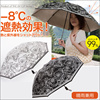 ~Fortuna~ 晴雨兼用折りたたみ遮熱日傘 ホワイト / ブラック■紫外線対策 UV対策 2タイプ収納 UV日傘 晴雨兼用日傘 ワイド傘