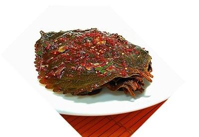 【韓国食品・韓国おかず】 ■たれ漬けエゴマの葉キムチ500g(辛口)■の画像