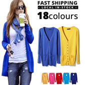 JESSCLOSET - [BEST SELLING] Europe Style Basic Long Cardigan With Pocket #LCP