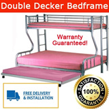Double Decker Bed (Bottom:Queen size + Top:Single) Promotion Price ONLY in Qoo10! Free Delivery + Installation! Warranty included!
