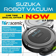 [INTRODUCTORY OFFER]★ PROSCENIC SUZUKA ROBOT VACUUM With WATER TANK 5-in-1★ JAPAN MOTOR★ SINGAPORE AGENT WARRANTY★ HIGH SUCTION POWER ★ 