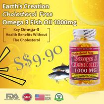 EARTH's CREATION Cholesterol Free Omega-3 Fish Oil 1000mg ♡ 100's Softgels ♡ Pure Distilled Fish Oil ♡ Heart Health ♡ Brain Health