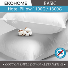 [Ekohome Basic] Hotel Pillow 1100/1300g Down Alternative Cotton Shell