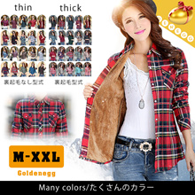 ☆Winter Fashion◆Slim line Checkered Cotton Shirts for Women◆Optional Warm Fleece lining Shirts available/ High Quality Material n Good Workmanship/ Euro Long Sleeve Tops/ M-2XL
