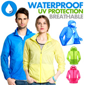 【Buy Two Free Shipping】WATERPROOF ! UV PROTECTION! Outdoor Jacket Coat Zipper / Quick Dry Breathable / Thin Cool Sports / Skin Sun  / Fitness 【M18】