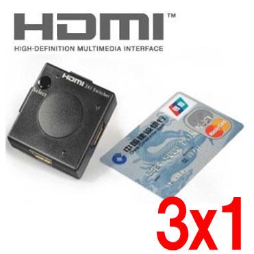 【送料無料】3系統入力対応の超小型HDMI切替器!3ポート(3x1) HDMIセレクタースイッチングHUB/3入力1出力の小型HDMI切替器「ミニHDMI切替器」(HDMHDSWK)(ブルーレイ機器/PS3/torneなど対応)の画像