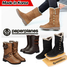 ★Made in Korea★ PaperPlanesWomens Warm Suede Button Winter Fur Snow Western Boots Women Shoes Special SALE(vious-Button)