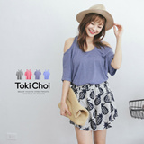 Tokyo Fashion - Bare-Shouldered Crossover Back Cotton Tee-2013967