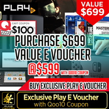 Buy PLAY-E Voucher Value $699 at Just $599 Now with Qoo10 Discount Coupon. Redeem any of our Products, Nintendo Switch, PS4 Pro Consoles,Games, Figurines and More from Any PLAY-E Official Store!