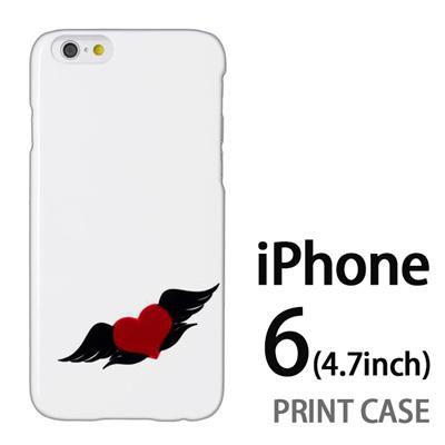 iPhone6 (4.7インチ) 用『0824 ワンポイント羽ハート』特殊印刷ケース【 iphone6 iphone アイフォン アイフォン6 au docomo softbank Apple ケース プリント カバー スマホケース スマホカバー 】の画像