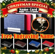 ( Meaningful Gift ) Free Engraving Name Namecard holder Personalized Free Engraving Unique Clip Business Name Card Case Holder Black Gift xmas christmas teacher day