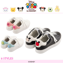 ♥New Arrival♥Gracegift-Disney TsumTsum Back Embroidered Lace Up Sneakers/Women Shoes