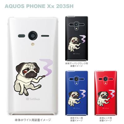 【まゆイヌ】【AQUOS PHONE Xx 203SH】【Soft Bank】【ケース】【カバー】【スマホケース】【クリアケース】【パグ】 26-203sh-md0025の画像