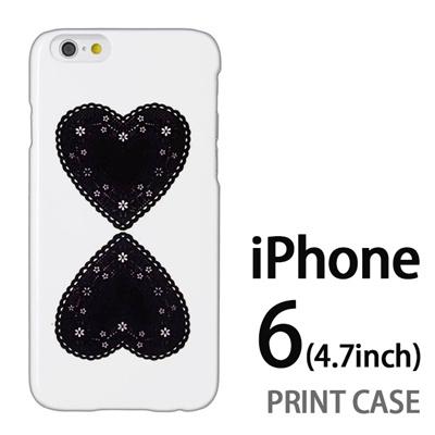 iPhone6 (4.7インチ) 用『0825 黒ハート』特殊印刷ケース【 iphone6 iphone アイフォン アイフォン6 au docomo softbank Apple ケース プリント カバー スマホケース スマホカバー 】の画像