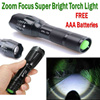 Direct Price! No option price increase! CREE XML T6 Brighter than Q5 LED Torchlight Zoom Flashlight Torch Light Outdoor FREE AAA Batteries