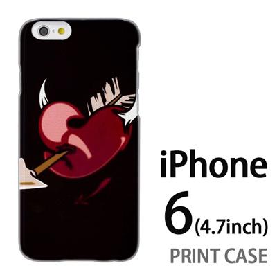 iPhone6 (4.7インチ) 用『0825 黒ハート矢』特殊印刷ケース【 iphone6 iphone アイフォン アイフォン6 au docomo softbank Apple ケース プリント カバー スマホケース スマホカバー 】の画像
