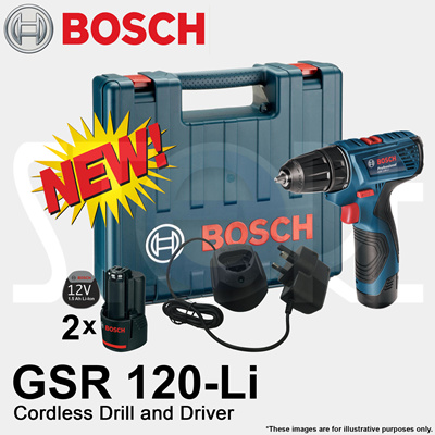 qoo10 bosch gsr 120 li professional cordless drill and driver 12v free gif tools. Black Bedroom Furniture Sets. Home Design Ideas