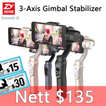 Zhiyun Smooth Q Handheld 3-Axis Gimbal Stabilizer  for action camera Smartphone gopro original set