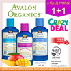 FREE SHIPPING!!❤1+1 Bundle Deal❤ AVALON ORGANICS AWAPUHI MANGO THERAPY Deep Moisturizing Shampoo and Conditioners