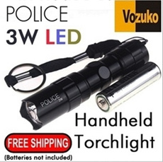POLICE 3W LED SUPER BRIGHT TORCH ON SALES-L086/shine in the darknest/1W/5W/UV/CREE BRIGHTNESS/AMERCIAN/BICYCLE TAIL LIGHT/Q5/T6/ULTRAFIRE/5000LUMENS/3/5 MODE ZOOM/FOCUS/1XAA BATTERY