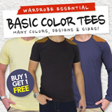 (Buy 1 get 1 Free) 2nd Edition Mens Casual Basic Top Special Promotion Sand Brown Panel Tee X Basic Plain Tee