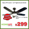 Fanco FFM 6000 48 inch Ceiling Fan / 1077 Light Kit and Original Fanco Remote. FREE INSTALLATION