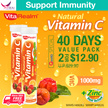 [2 for $12.90 ONLY!] VitaRealm™1000mg Natural Vitamin C + Zinc Efferverscent Tablets(40 Days Supply)