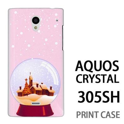 AQUOS CRYSTAL 305SH 用『1222 冬景色in水晶 ピンク』特殊印刷ケース【 aquos crystal 305sh アクオス クリスタル アクオスクリスタル softbank ケース プリント カバー スマホケース スマホカバー 】の画像