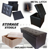 ★STORAGE STOOL W METAL LATCH ★Storage Box ★Organizer ★Ottaman ★Sofa ★Chair ★ ★Living Room ★Leather