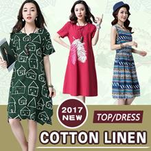 【26/5 BIG PROMO】High Quality Japanese Linen Apparels Cotton Dress Japan Linen / Plus Size Dress