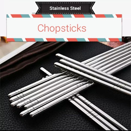 [Set of 5 pairs] Korean Stainless Steel Chopsticks Dinning Tools Kitchen ware Noodle