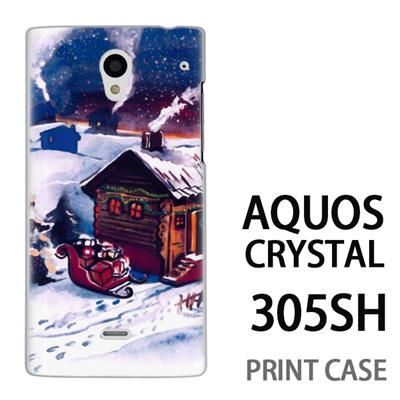 AQUOS CRYSTAL 305SH 用『1223 サンタさん訪問中 水』特殊印刷ケース【 aquos crystal 305sh アクオス クリスタル アクオスクリスタル softbank ケース プリント カバー スマホケース スマホカバー 】の画像