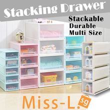 [MISS-L.SG]★RECEIVE IN TWO DAYS★PLASTIC STORAGE CONTAINER BOX/Stacking Drawer/SINGLE TIER DRAWER/DRAWER Stackable Space Saving Compartment Organiser Home Container Easy Solution Room