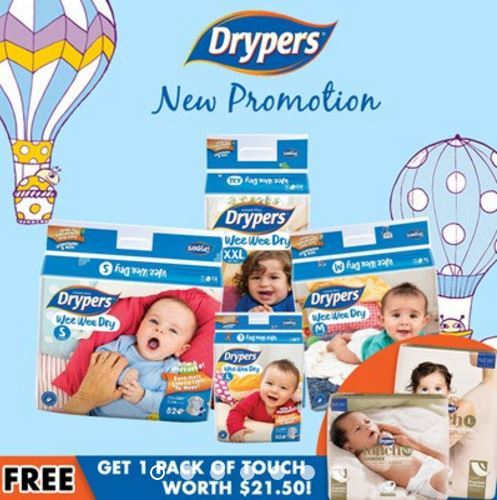 [Use Coupon Nett $24][Drypers Official Store] [FREE 1 PACK OF TOUCH] Wee Wee Dry / M / L / XL Deals for only S$66 instead of S$0