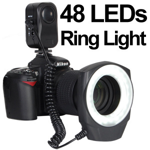★【送料無料】プロ撮影が簡単にできる!48個のLED球をリング状に配置!見たとおりの撮影できるRING48マクロLEDリングライトCircular Macro Half/Full LED Light Source (ステップ径:49mm/52mm/55mm/58mm/62mm/67mm)の画像