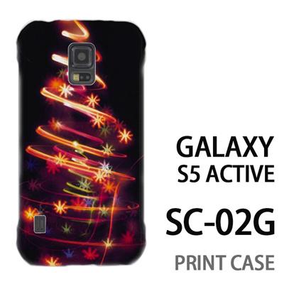 GALAXY S5 Active SC-02G 用『1223 花飾りツリー ゴールド』特殊印刷ケース【 galaxy s5 active SC-02G sc02g SC02G galaxys5 ギャラクシー ギャラクシーs5 アクティブ docomo ケース プリント カバー スマホケース スマホカバー】の画像