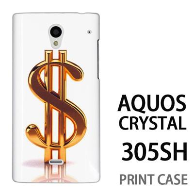 AQUOS CRYSTAL 305SH 用『1223 ドル ゴールド』特殊印刷ケース【 aquos crystal 305sh アクオス クリスタル アクオスクリスタル softbank ケース プリント カバー スマホケース スマホカバー 】の画像