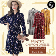 TIG SALE ★ CNY FLORAL DRESSES ★ FREE SIZE ★ PLUS SIZE ★ SIZE S - 3L ★ OFFICE ★ TRAVEL ★