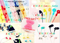 【REMAX】★Lowest Price★BUY 1 GET 1 FREE GIFT★Celestly★Remax RM-301 Candy Series Earphone/RM-505 Candy series/RM-515/RM-501★iPhone6/6S/iPhone5/5s/5c/5SE/iPad/Samsung/Xiaomi/Sony/HTC/Android IOS★